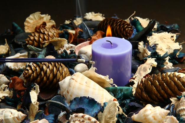 Purple potpourri with candle and pine cones