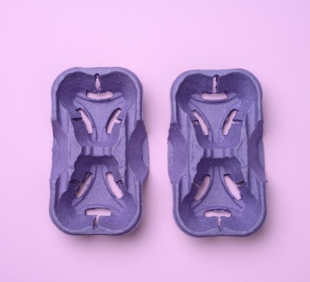 Фиолетовый перерабатываемый держатель для горячих напитков, держатель для бумаги для двух чашек на вынос, вид сверху