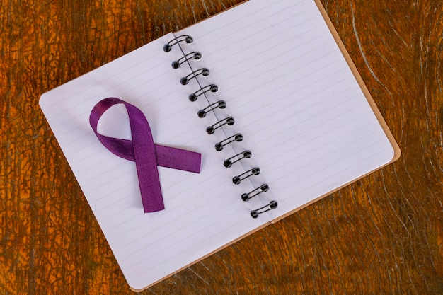 Purple ribbon bow month of february awareness about lupus fibromyalgia and alzheimers