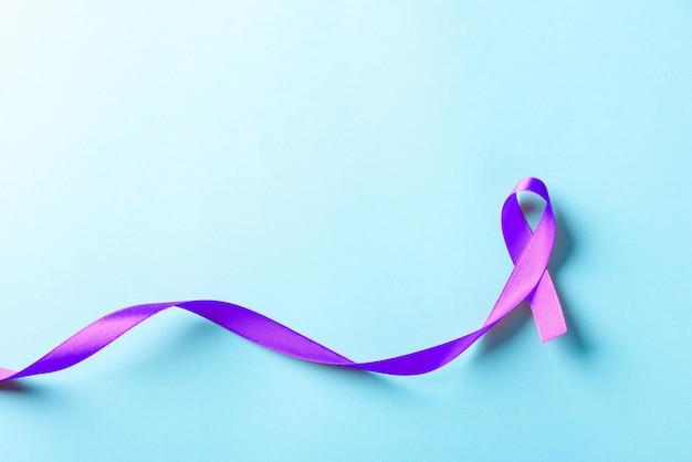 Purple ribbon symbol of pancreatic cancer awareness