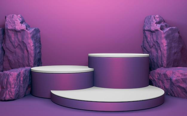 Purple rock stones on podium geometric for product presentation. 3d rendering