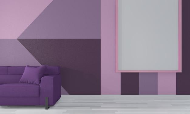 Purple room geometric wall art paint  color full style on wooden floor.3d rendering