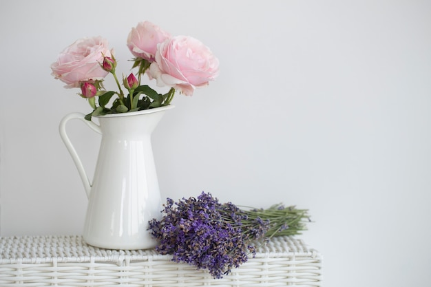 Purple rose and lavender bouquet