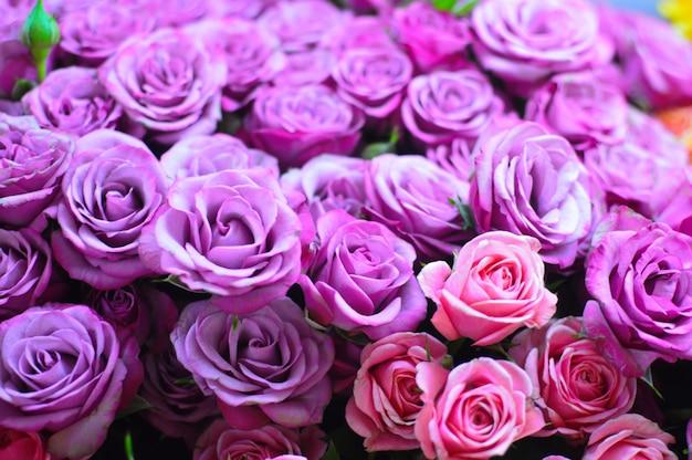 Фиолетовый букет роз