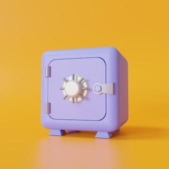 Фиолетовый сейф на желтом фоне. 3d иллюстрация