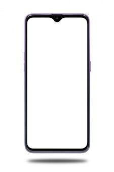 白い画面、白いスペースに分離されたモダンなタッチスクリーンと紫のスマートフォン。