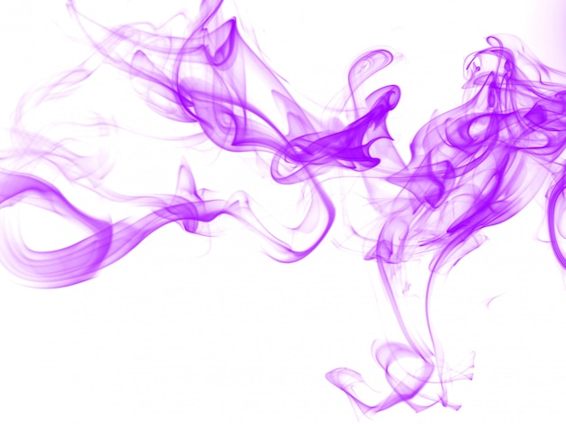 Purple smoke abstract on white background