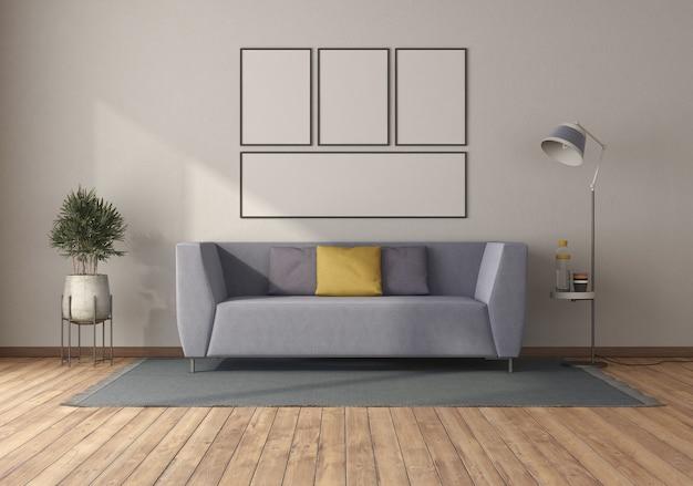 Фиолетовый диван в минималистичной гостиной с пустой рамкой для фотографий - 3d-рендеринг