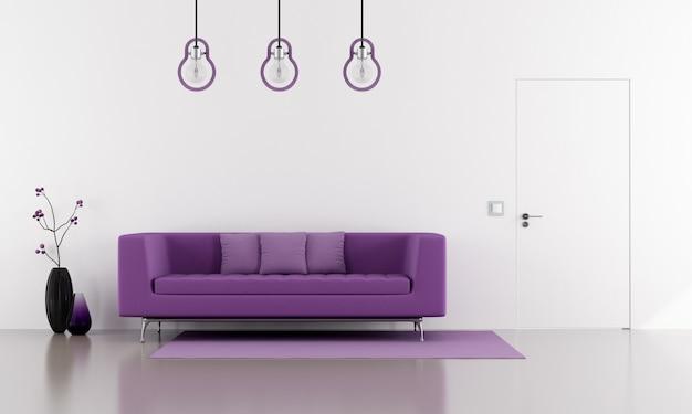 ミニマリストの白いラウンジにある紫のソファ