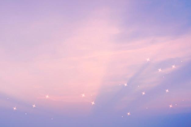 보라색 별이 빛나는 하늘 패턴 스파클 이미지 배경