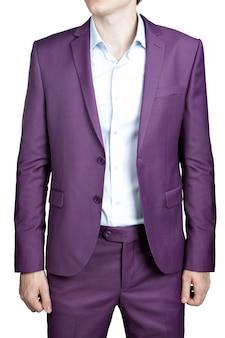 흰색에 고립 된 남성용 옷, 재킷 및 바지의 보라색 정장.