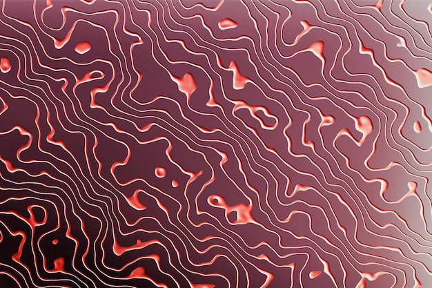 Purple surface background of wavy red grooves lines