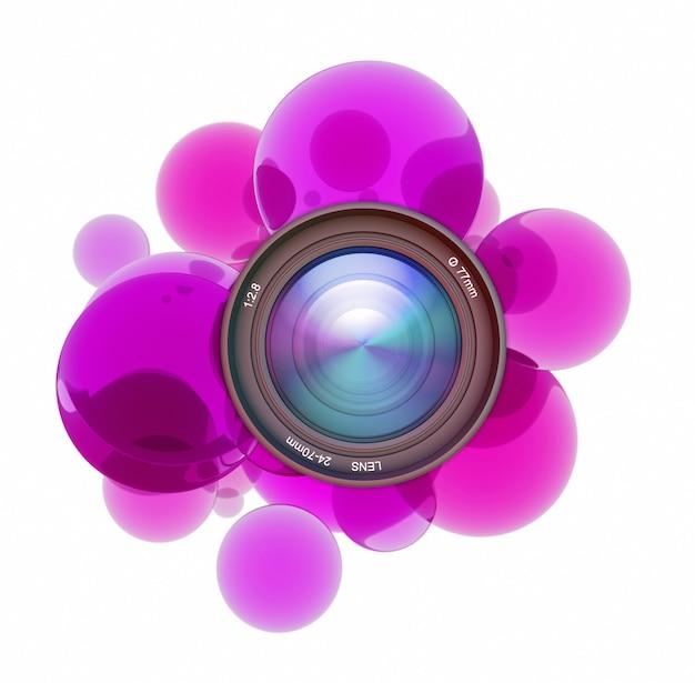 カメラのレンズを囲む紫色の透明な円