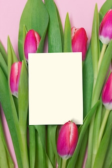 Purple tulip bouquet and blank greeting card on pink background for mother's day