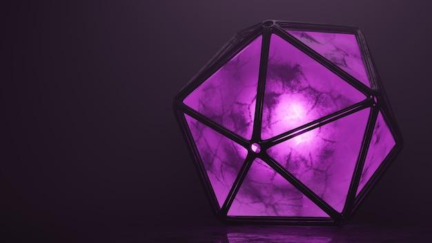Purple violet emission dodecahedron volumetric light 3d model background wallpaper