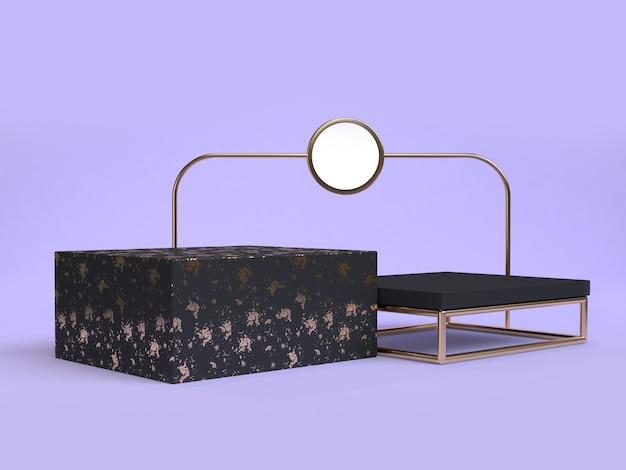 보라색 바이올렛 최소한의 추상 검은 기하학적 모양 3d 렌더링