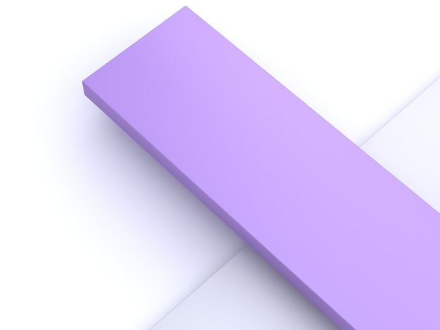 Purple-violet square white minimal abstract background 3d rendering