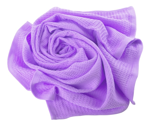 Purple waffle towel folded in the shape of a rose on a white background