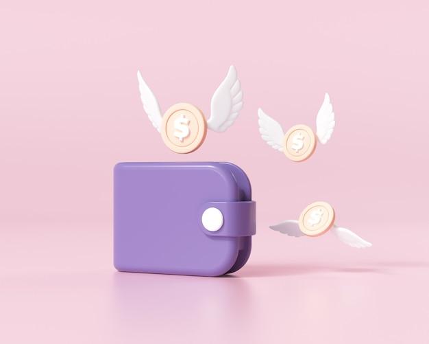 날개가 달린 동전이 있는 보라색 지갑. 비즈니스, 웹 사이트, 온라인 상점, 금융, 은행에 대한 개념입니다. 잃어버린 돈, 돈을 절약하는 개념. 3d 렌더링 그림