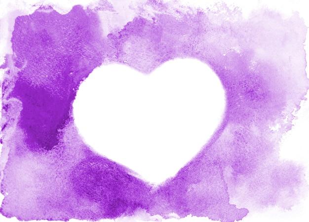 Purple watercolor heart silhouette