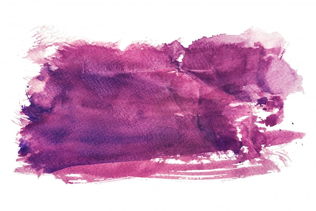 Purple watercolor isolated on white backgrounds, hand painting on crumpled paper