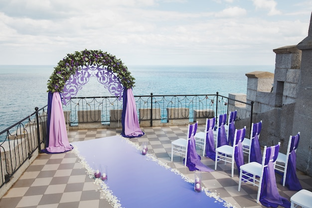 Purple wedding arch on the mountain
