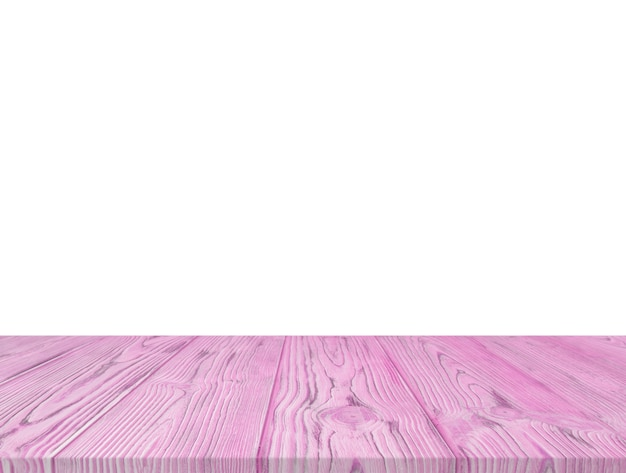 Purple wooden textured table top isolated on white backdrop
