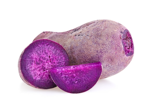Purple yams on isolated white background