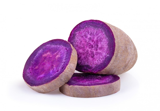 Purple yams on isolated white