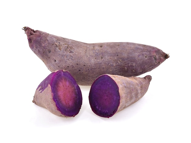 白に分離された紫色の山芋