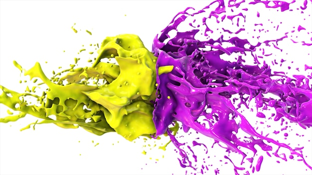 Purple and yellow liquid collide, drops splatter fly to the sides on a white isolated background