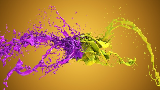 Purple and yellow liquid collide, drops splatter fly to the sides.