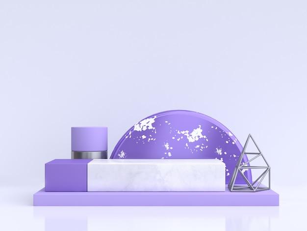 Purpleviolet 흰색 기하학적 모양 그룹 설정 최소한의 추상 3d 렌더링