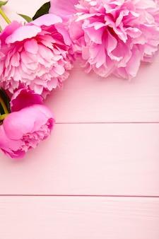Пурпурные цветы пиона на розовом фоне деревянные.