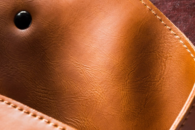 Purse brown leather pocket