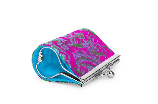 白い背景の上のレトロなスタイルの財布