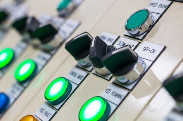 Push button and display on control panel with electric light devices