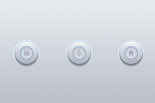 Push button icon of family set symbol on gray.