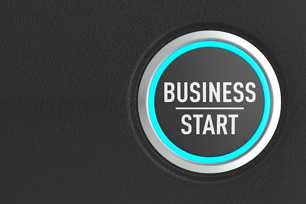 Push button with text business start on dark background. 3d illustration