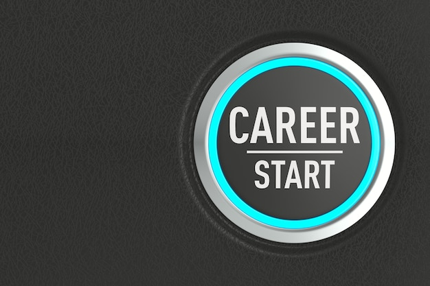 Push button with text start career on dark background. 3d illustration