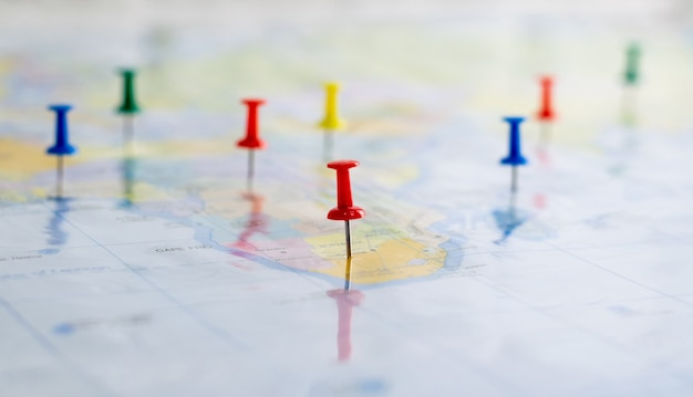 Push pin on the world map