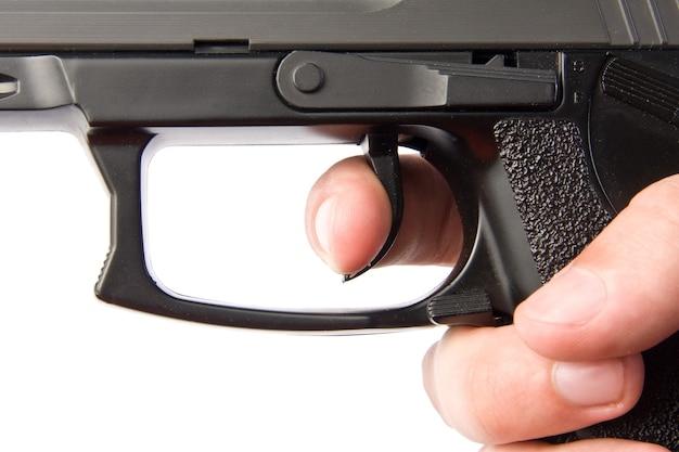 拳銃の引き金を押す