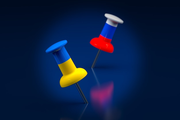 Pushpin colored with ukraine on the front and russian flag on the back. 3d illustration