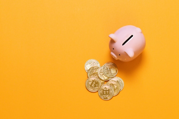 Putting bitcoin to piggy bank, new virtual electronic and digital money, hodl investment concept