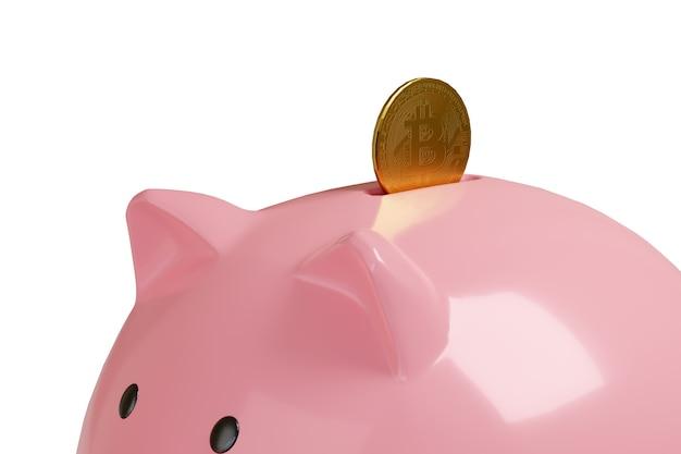 Putting a bitcoin in a piggy bank.