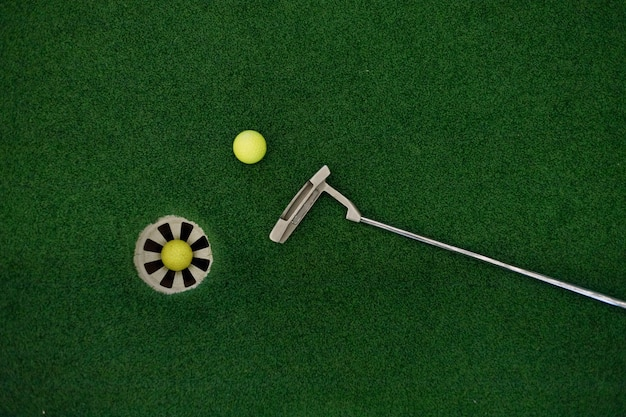Putting golf club on green grass with golf ball in the hole