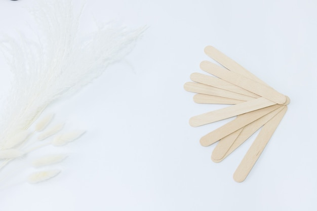 Putty knife for shugaring on a white background. beauty parlour
