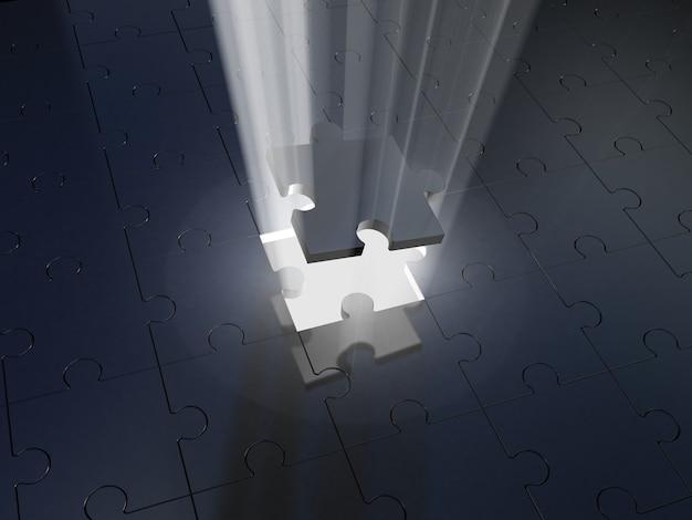 퍼즐과 볼륨 라이트. 3d 일러스트레이션