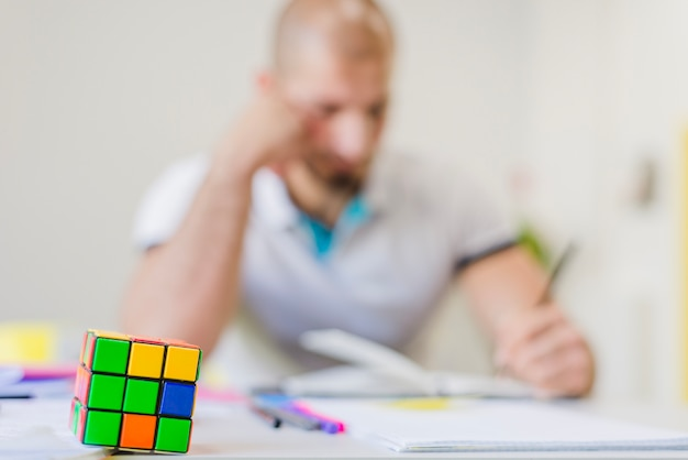 Puzzle on background of student