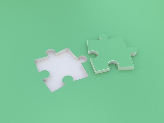 Puzzle double on green. 3d illustration